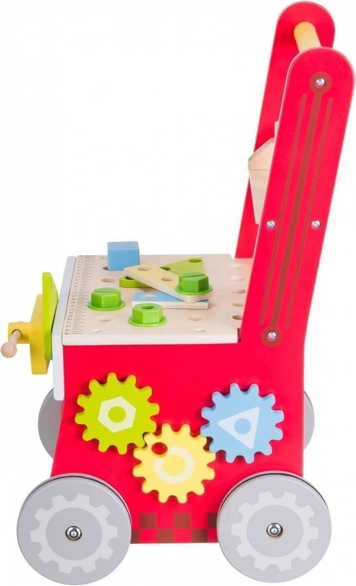 Drewniany chodzik 3w1, pchacz + warsztat - 47 elementów