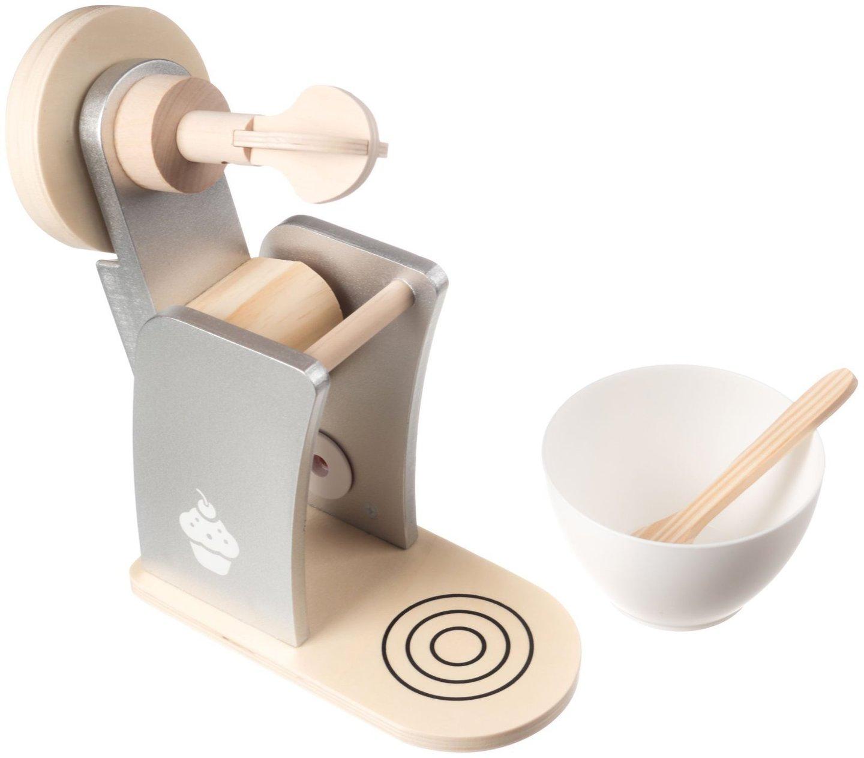 Drewniany mikser z miską, robot do wyrabiania ciasta