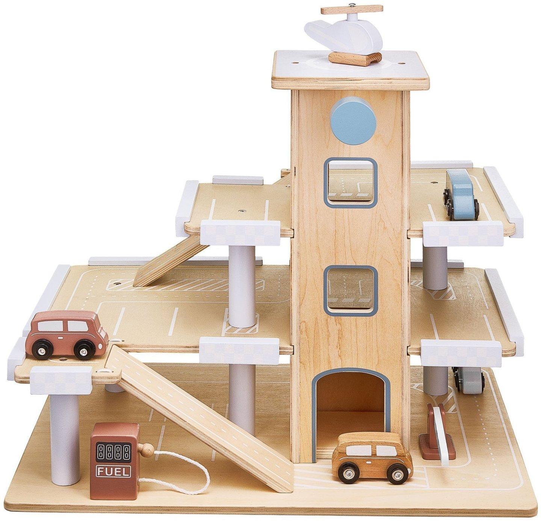 Drewniany parking trzypoziomowy z windą, garaż z samochodami i helikopterem