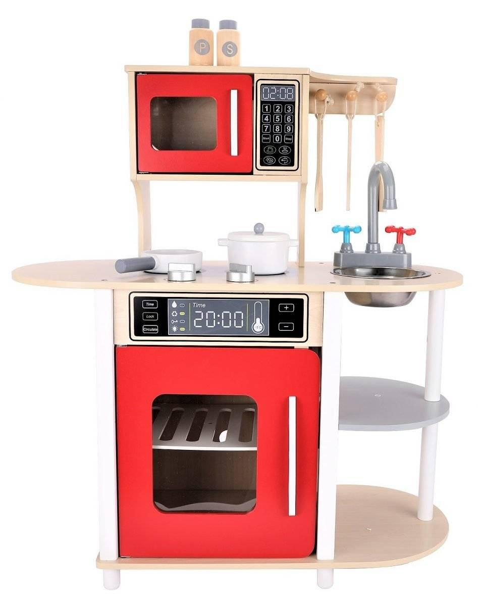 Duża drewniana kuchnia dla dzieci + akcesoria