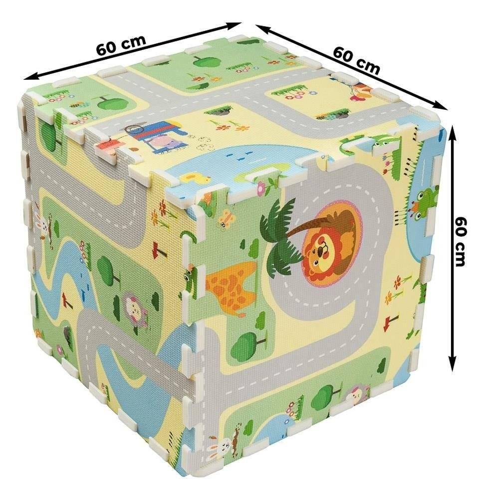 Dwustronna Mata Puzzle 180x120x2cm R10 - Miejska dżungla i Radosny step