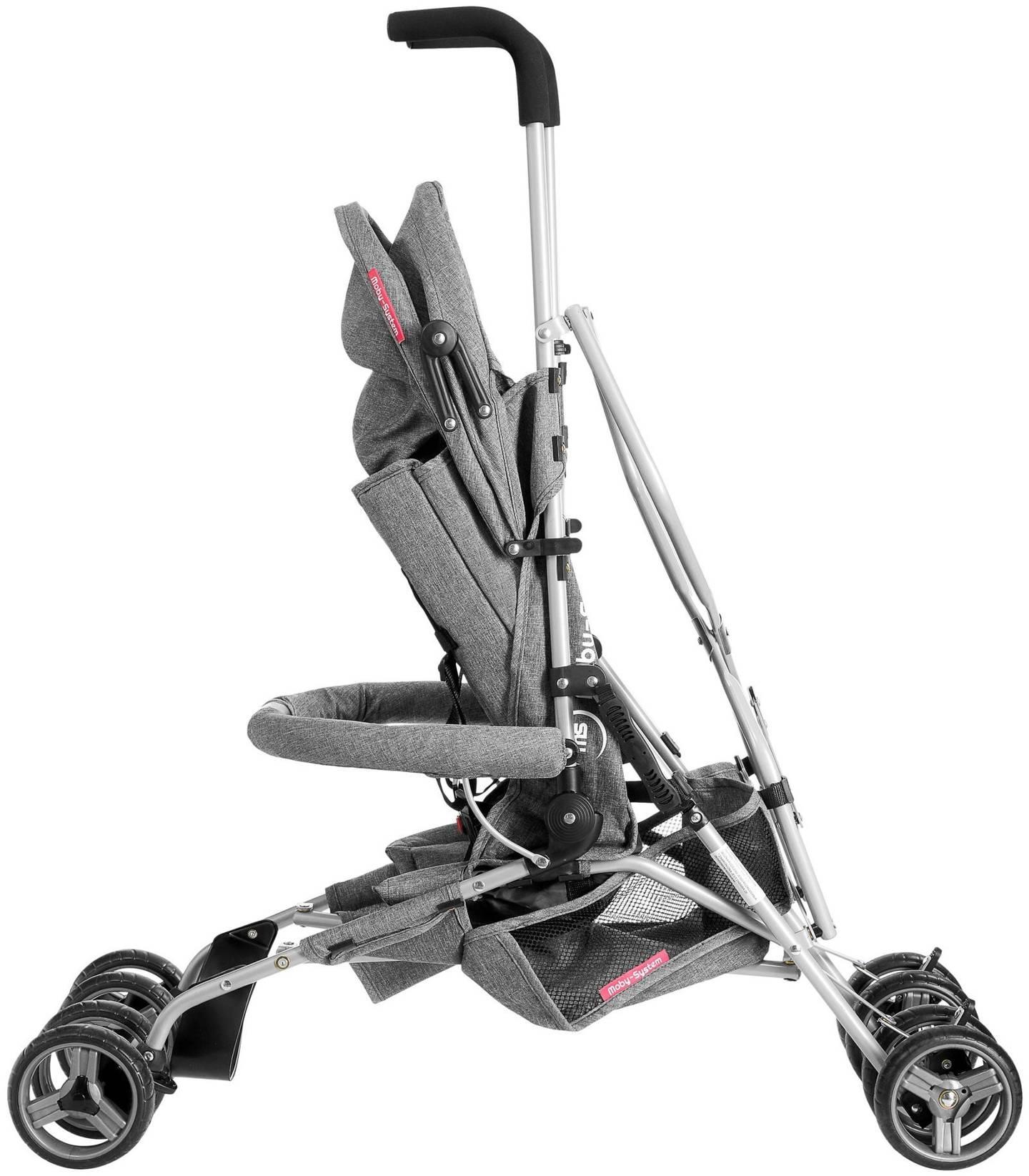 Lekki wózek spacerowy, parasolka Moby-System Barton kolor: szary