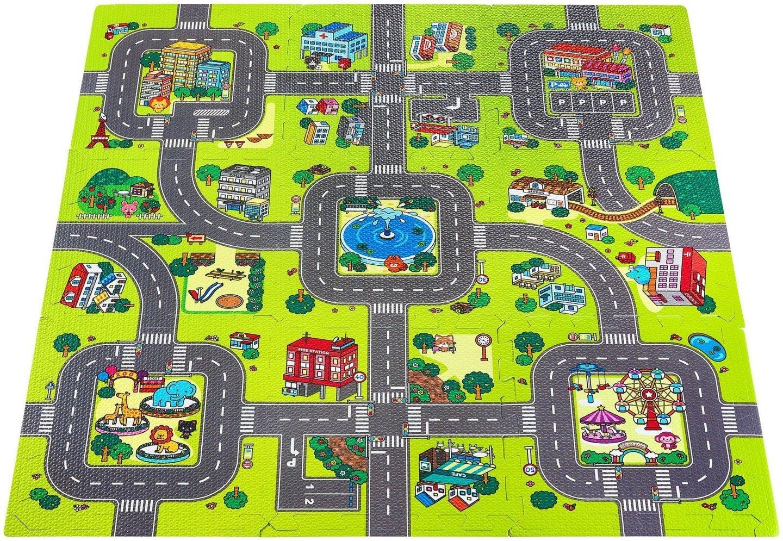 Mata edukacyjna piankowe puzzle 90 x 90 x 1cm z obrzeżem - pianka EVA - wzór: miasto drogi ulice