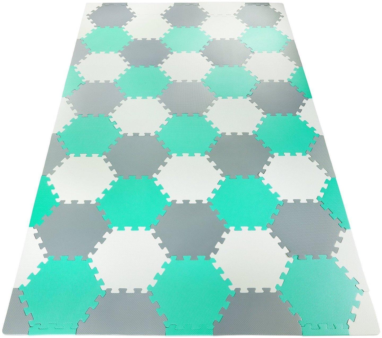Mata piankowe puzzle XXL 260 x 135 x 1cm z obrzeżem - pianka EVA + torba - miętowa