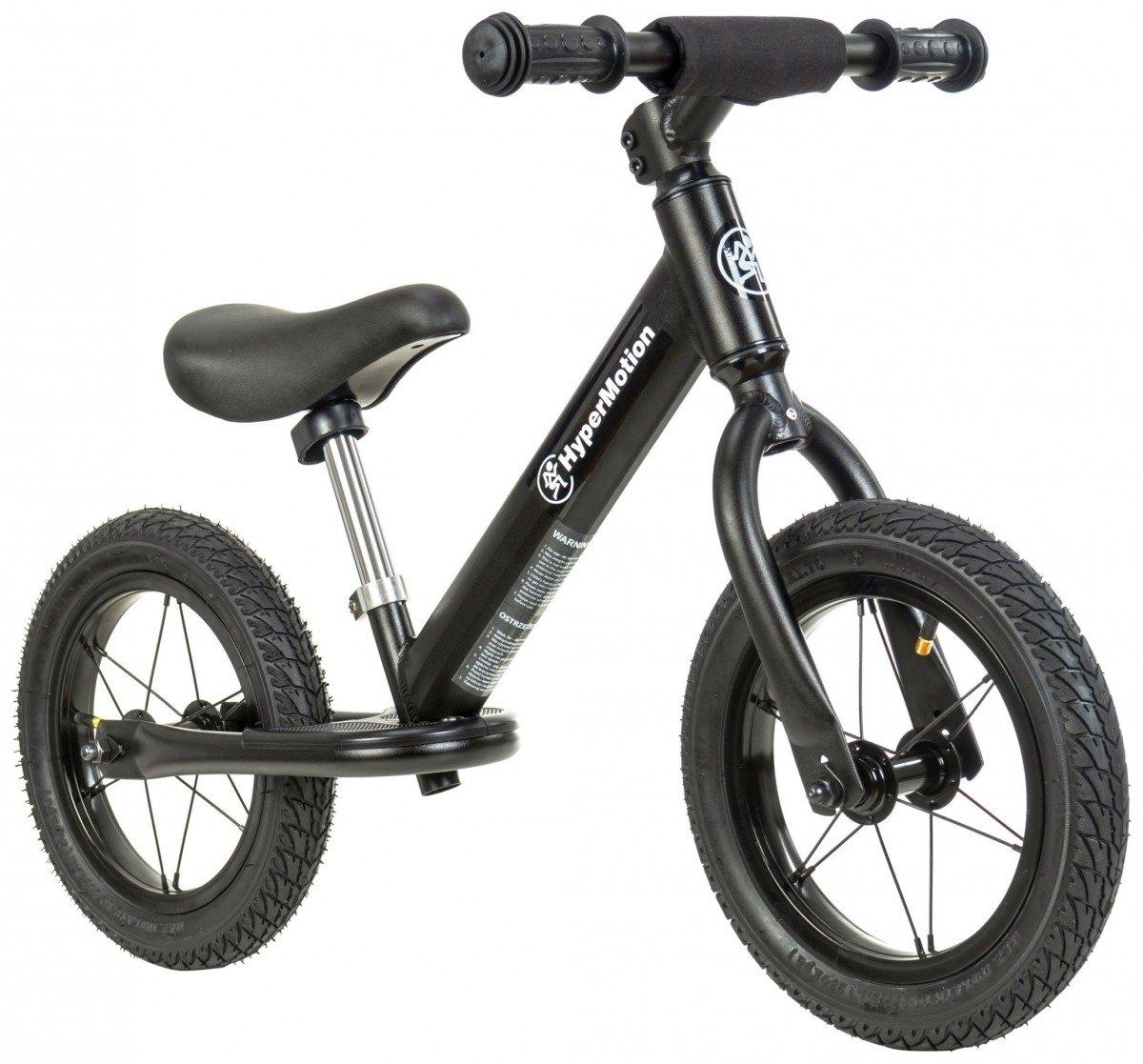 Rowerek biegowy HyperMotion COVAGGIO - pompowane koła, aluminiowa rama - czarny