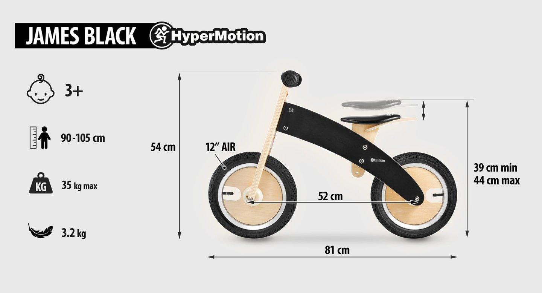 Rowerek biegowy drewniany HyperMotion JAMES - pompowane koła - czarny