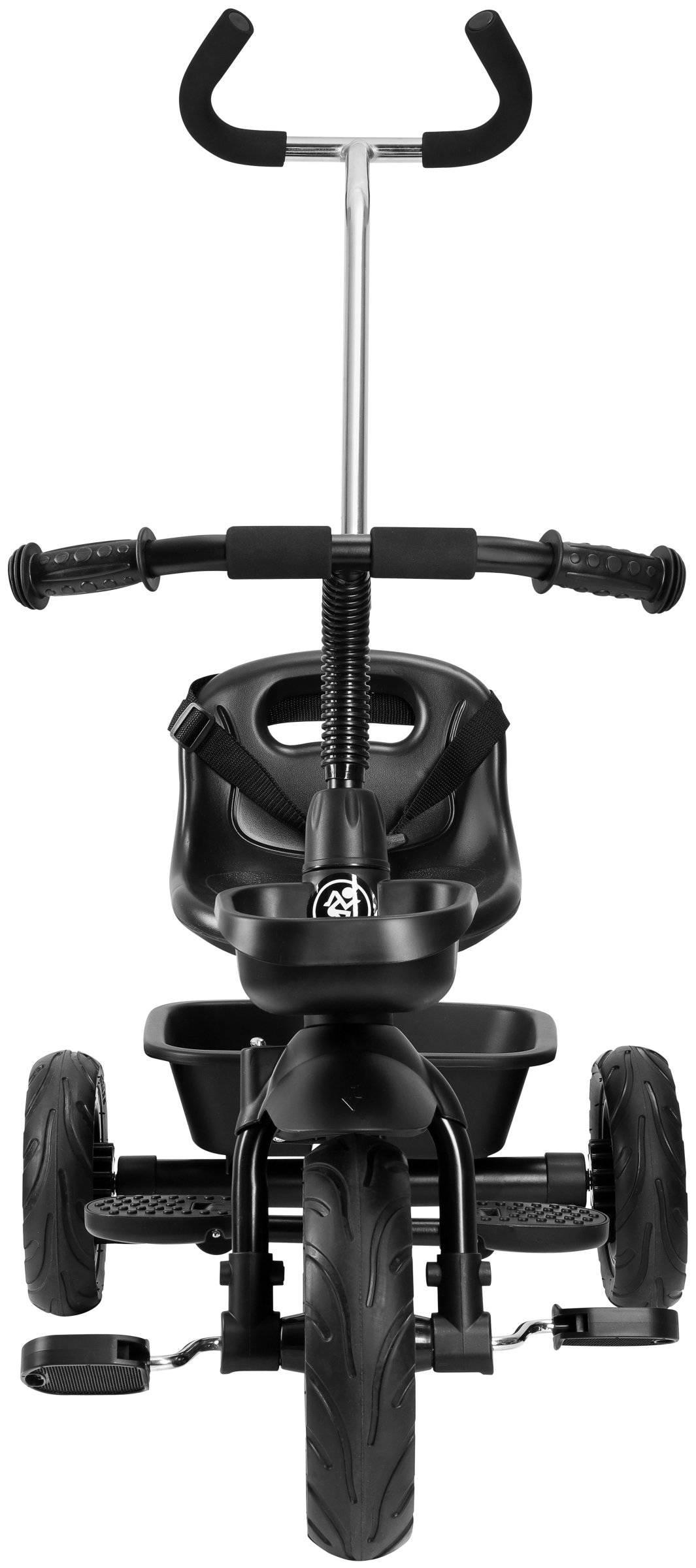 Rowerek trójkołowy HyperMotion TOBI VECTOR - wiecznie pompowane koła + pchacz. Kolor: czarny.