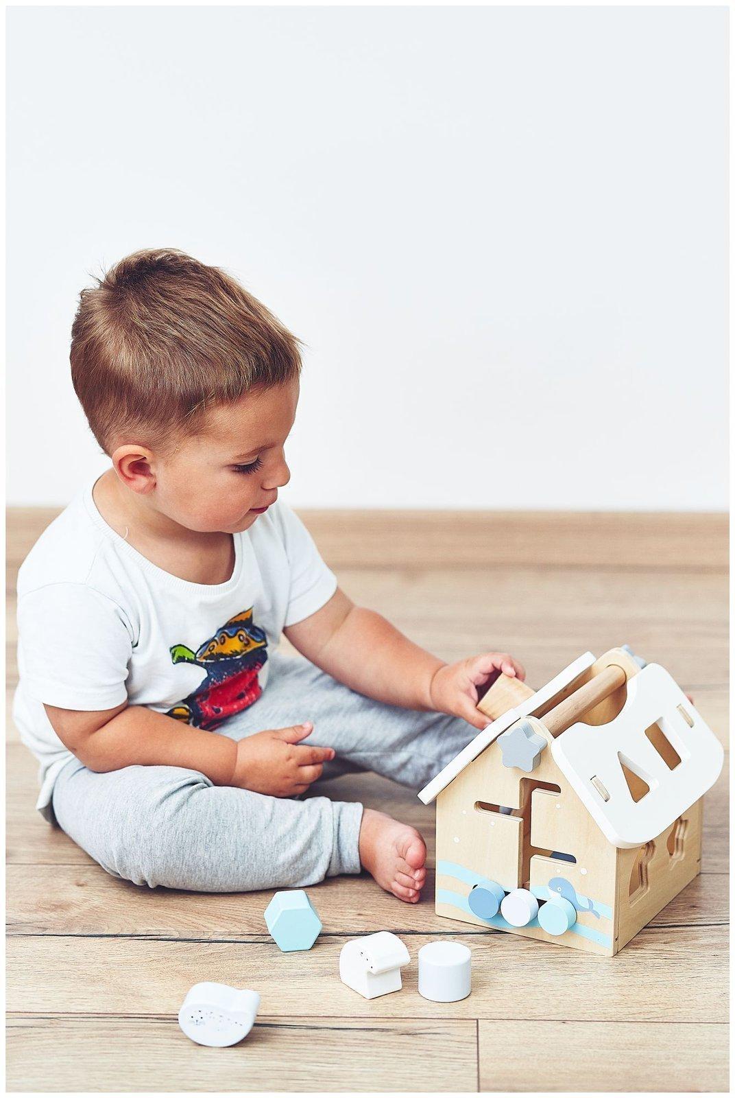 Sorter - drewniany domek edukacyjny z klockami