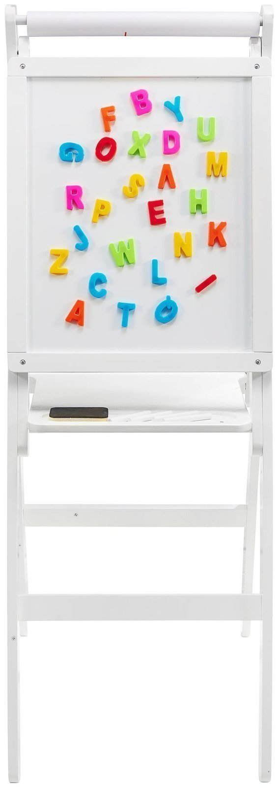 Tablica edukacyjna dwustronna: magnetyczna i kredowa - suchościeralna, drewniana, z rolką na papier