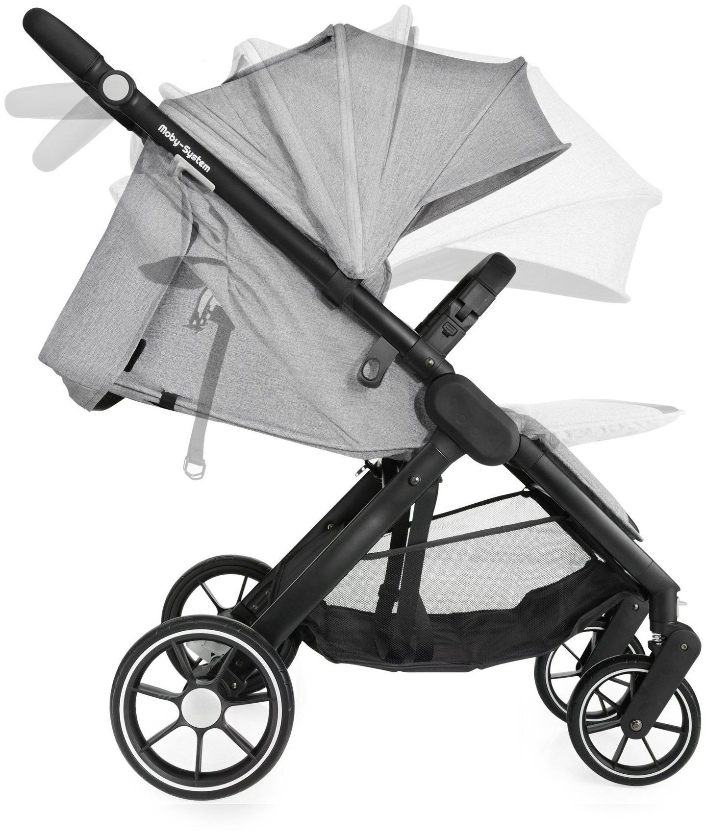 Wózek spacerowy dziecięcy Moby-System NADIA - szary